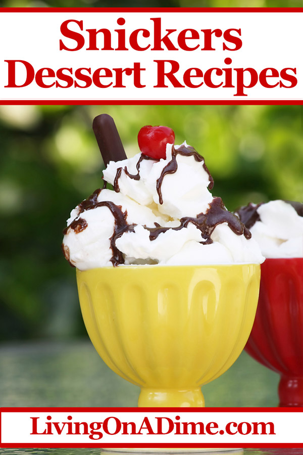 Here are some yummy dessert recipes to use leftover Snickers from trick or treating. You can also buy them on clearance when they're a lot less expensive! Snickers Dessert Recipes - Ways To Use Leftover Candy Bars